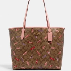 Coach City Tote Shoulder Bag With Candy Print